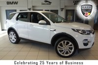 USED 2016 16 LAND ROVER DISCOVERY SPORT 2.0 TD4 HSE LUXURY 5d AUTO 180 BHP FINISHED IN STUNNING FUJI WHITE WITH FULL BLACK LEATHER SEATS + FULL LAND ROVER SERVICE HISTORY + SATELLITE NAVIGATION + PANORAMIC ROOF + XENON HEADLIGHTS + REVERSE CAMERA + HEATED/COOLED FRONT SEATS + 7 SEATER + HEATED REAR SEATS + BLUETOOTH + DAB RADIO + ELECTRIC TAILGATE + 20 INCH ALLOYS + HEATED STEERING WHEEL + LANE DEPARTURE WARNING SYSTEM + CRUISE CONTROL
