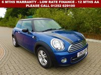 USED 2013 13 MINI HATCH COOPER 1.6 COOPER 3d 122 BHP All retail cars sold are fully prepared and include - Oil & filter service, 6 months warranty, minimum 6 months Mot, 12 months AA breakdown cover, HPI vehicle check assuring you that your new vehicle will have no registered accident claims reported, or any outstanding finance, Government VOSA Mot mileage check. Because we are an AA approved dealer, all our vehicles come with free AA breakdown cover and a free AA history check.. Low rate finance available. Up to 3 years warranty available.