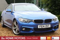 USED 2014 14 BMW 4 SERIES 2.0 420D M SPORT 2d AUTO 181 BHP NAVIGATION XENON BLUETOOTH DAB RADIO PARKING SENSORS CRUISE FULL HEATED DAKOTA LEATHER 19