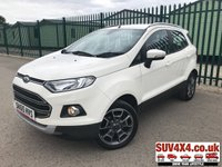 USED 2015 65 FORD ECOSPORT 1.0 TITANIUM 5d 124 BHP LEATHER CRUISE PDC FSH STUNNING WHITE WITH BLACK PART LEATHER TRIM. CRUISE CONTROL. 17 INCH ALLOYS. COLOUR CODED TRIMS. PARKING SENSORS. BLUETOOTH PREP. CLIMATE CONTROL. AIR CON. MEDIA CONNECTIVITY. R/CD PLAYER. MFSW. MOT 06/20. SERVICE HISTORY. SUV & 4X4 CAR CENTRE LS23 7FR. TEL 01937 849492. OPTION 2