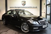 "USED 2009 09 MERCEDES-BENZ E CLASS 6.2 E63 AMG 4DR 525 BHP  FINISHED IN STUNNING OBSIDIAN BLACK WITH FULL GREY LEATHER INTERIOR + FULL SERVICE HISTORY + COMAND SATELLITE NAVIGATION + BLUETOOTH + PANORAMIC SLIDING SUNROOF + MEMORY PACKAGE + NIGHT VIEW ASSIST + HEATED SEATS + AMG STYLING PACKAGE-FRONT SPOILER, SIDE SKIRT + AMG PERFORMANCE STEERING WHEEL + PARKING SENSORS +  19""  AMG DOUBLE-SPOKE WHEELS + ULEZ EXEMPT"