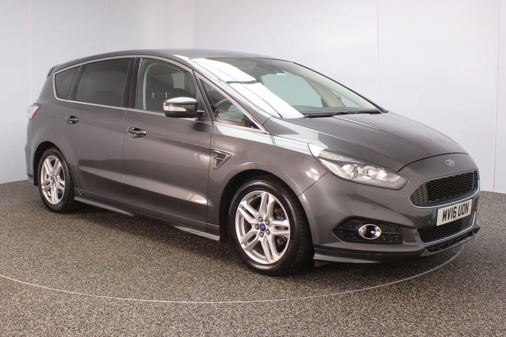 USED 2016 16 FORD S-MAX 2.0 TITANIUM SPORT TDCI 5DR 7 SEATS SERVICE HISTORY + SATELLITE NAVIGATION + 7 SEATS + PARKING SENSOR + BLUETOOTH + CRUISE CONTROL + CLIMATE CONTROL + MULTI FUNCTION WHEEL + DAB RADIO + PRIVACY GLASS + XENON HEADLIGHTS + ELECTRIC WINDOWS + ELECTRIC MIRRORS + 18 INCH ALLOY WHEELS