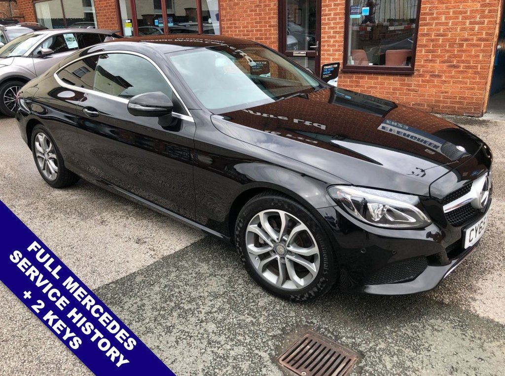 """USED 2016 65 MERCEDES-BENZ C CLASS 2.0 C 200 SPORT 2DOOR 181 BHP DAB Radio     :     Satellite Navigation     :     2 USB Sockets     :     Automatic Headlights      Car Hotspot / WiFi   :   Speed Limiter   :   Bluetooth   :   Climate Control / Air Conditioning       Heated/Electric Front Seats   :   Remotely Operated Tailgate   :   Front/Rear Parking Sensors                     17"""" Alloy Wheels   :   2 Keys   :   Full Mercedes Service History"""