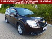 USED 2014 14 CHEVROLET ORLANDO 2.0 LT VCDI 5d AUTO 161 BHP All retail cars sold are fully prepared and include - Oil & filter service, 6 months warranty, minimum 6 months Mot, 12 months AA breakdown cover, HPI vehicle check assuring you that your new vehicle will have no registered accident claims reported, or any outstanding finance, Government VOSA Mot mileage check. Because we are an AA approved dealer, all our vehicles come with free AA breakdown cover and a free AA history check.. Low rate finance available. Up to 3 years warranty available.