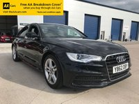 USED 2013 62 AUDI A6 2.0 TDI S LINE 4d 175 BHP THIS CAR HAS TO BE SEEN AND DRIVEN, IMMACULATE THROUGHOUT...BEST COLOUR COMBINATION, BLACK WITH BLACK AND PRIVACY GLASS AS WELL. A REAL HEAD TURNER.....BEST EXAMPLE ON THE MARKET, DO NOT WAIT TOO LONG ON THIS CAR AS IT WILL BE GONE SOON!!! ALL OF OUR CARS COME WITH 12 MONTHS FREE ROADSIDE ASSISTANCE AND 3 MONTHS WARRANTY SUPPLIED BY THE AA. ASK ABOUT OUR FINANCE PACKAGES.....NO FEE'S ....NO DEPOSIT NEEDED..DRIVE AWAY SAME DAY!!!! CALL US ON 01443 520670