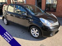 "USED 2008 58 NISSAN NOTE 1.4 ACENTA 5DOOR 88 BHP AUX Socket   :   Folding / Heated Mirrors   :   Air Con   :   Front & Rear Electric Windows      Full Black Cloth Upholstery   :   Cargo / Load Cover   :   15"" Alloy Wheels   :   2 Keys     Service History"