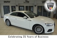 USED 2017 17 AUDI A5 2.0 TFSI SE 2d AUTO 188 BHP FINISHED IN STUNNING WHITE WITH FULL BLACK LEATHER SEATS + FULL AUDI SERVICE HISTORY + DAB RADIO + BLUETOOTH + AUDI SMARTPHONE INTERFACE + AUDI PARKING SYSTEM PLUS + HEATED FRONT SEATS + AUTOMATIC TRI-ZONE CLIMATE CONTROL + LED DAYTIME RUNNING LIGHTS + CRUISE CONTROL + MULTIFUNCTION STEERING WHEEL + ALLOY WHEELS