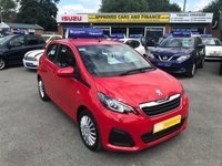 USED 2016 16 PEUGEOT 108 1.0 ACTIVE 5d AUTO 68 BHP IN METALLIC RED WITH ONLY 21000 MILES, 1 OWNER AND FULL SERVICE HISTORY  APPROVED CARS AND FINANCE ARE PLEASED TO OFFER THIS PEUGEOT 108 1.0 ACTIVE 5D AUTO 68 BHP IN METALLIC RED WITH ONLY 21000 MILES AND A FULL SERVICE HISTORY, THIS VEHICLE HAS A VERY GOOD SPEC SUCH AS BLUETOOTH, TOUCHSCREEN DISPLAY, AIR CON, ELECTRIC WINDOWS AND MUCH MORE. THIS IS AN IDEAL FAMILY CAR AND IS VERY ECONOMICAL AS WELL AS HAVING CHEAP ROAD TAX AND INSURANCE. FOR ANY MORE INFORMATION CALL THE SALES TEAM ON 01622 871555