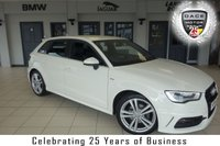 USED 2014 14 AUDI A3 2.0 TDI S LINE 5d 148 BHP FINISHED IN STUNNING WHITE WITH HALF LEATHER SPORTS SEATS + FULL SERVICE HISTORY + DAB RADIO + BLUETOOTH + AUDI MUSIC INTERFACE + DUAL ZONE ELECTRONIC CLIMATE CONTROL + LED DAYTIME RUNNING LIGHTS + ALLOY WHEELS