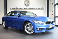 """USED 2016 65 BMW 4 SERIES 2.0 418D M SPORT 2DR 148 BHP full service history * NO ADMIN FEES * FINISHED IN STUNNING ESTORIL METALLIC BLUE WITH FULL LEATHER INTERIOR + FULL SERVICE HISTORY + SATELLITE NAVIGATION + BLUETOOTH + HEATED SEATS + XENON LIGHTS + DAB RADIO + CRUISE CONTROL + LIGHT PACKAGE + AUTO AIR CON + PARKING SENSORS + 18"""" ALLOY WHEELS"""