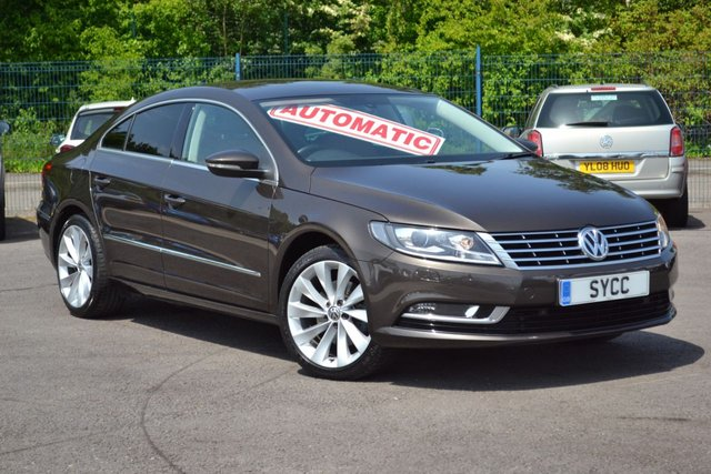 USED 2014 S VOLKSWAGEN CC 2.0 GT TDI BLUEMOTION TECHNOLOGY DSG 4d AUTO 138 BHP BLACK OAK BROWN METALLIC ~ ONLY 56,000 MILES ~ HEATED NAPPA LEATHER