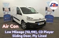 2015 CITROEN BERLINGO 1.6 HDI in White with Air Conditioning, Low Mileage (42,198), CD Player, Sliding Door, Ply Lined £5280.00