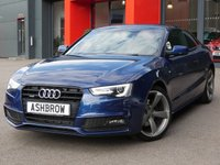 USED 2013 63 AUDI A5 2.0 TDI QUATTRO BLACK EDITION 2d 177 S/S FULL SERVICE HISTORY, CAMBELT & PUMP CHANGED, SAT NAV WITH JUKEBOX & DVD PLAYER, CRUISE CONTROL, FRONT & REAR PARKING SENSORS WITH DISPLAY, BANG & OLUFSEN SOUND SYSTEM, BLUETOOTH PHONE & MUSIC STREAMING, DAB RADIO, AUDI MUSIC INTERFACE, WIRELESS LAN (WLAN), FULL BLACK LEATHER, LEATHER FLAT BOTTOM MULTIFUNCTION STEERING WHEEL,QUATTRO 4 WHEEL DRIVE, PRIVACY GLASS, 19 INCH ROTOR ALLOYS, XENONS, DUAL ZONE CLIMATE A/C, MMI WITH 2x SD CARD READERS, AUTO LIGHTS + WIPERS, AUTO DIMMING REAR VIEW MIRROR