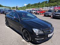 USED 2012 62 MERCEDES-BENZ C CLASS 6.2 C63 AMG 2d 457 BHP Metallic Black with Black & Red Nappa leather, glass roof & 19 inch Alloys
