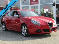 USED 2012 12 ALFA ROMEO GIULIETTA 1.4 MULTIAIR VELOCE TB 5d 170 BHP Part Exchange to clear, Clearance terms and conditions apply, may require some cosmetic and mechanical attention, please ring for details. Finished in ALFA Red with contrasting PART LEATHER trim. ALFA dealer serviced at 18270 miles, 37462 miles, 57242 miles, 75968 miles and at  89080 miles. MOT due on 19/9/2019.