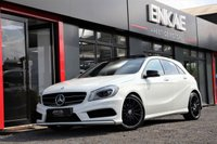 """USED 2014 14 MERCEDES-BENZ A CLASS 2.1 A200 CDI AMG SPORT 5d 136 BHP PAN ROOF*NIGHT PACK*LED XENON HEADLIGHTS*FOLDING MIRRORS*ELECTRIC MIRRORS*LED XENON LIGHTS*PRIVACY GLASS*FULL SERVICE HISTORY*18"""" BLACK AMG ALLOYS*HALF LEATHER SEATS*ALKANTARA SUEDE*CRUISE CONTROL*MULTI FUNCTIONAL STEERING WHEEL*CRUISE CONTROL*PHONE PREP*2 PREVIOUS OWNER*RARE SPEC CAR*WELL LOOKED AFTER BY LADY OWNER FOR THE LAST 3 YEARS*"""