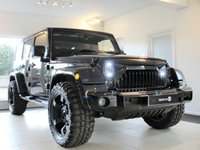 USED 2014 14 JEEP WRANGLER 2.8 UNLIMITED CRD 4d AUTO 197 BHP, HUGE SPECIFICATION Removable Hard Top panels, Satellite Navigation with Bluetooth, Rubicon Black Leather Upholstery, Quad-pipe Exhaust, 20inch RockStar Alloy Wheels with M/T tyres and upgraded rear wheel carrier for the spare wheel. LED headlights with Daytime Running Lights, LED Rear Lights, Colour coded Black Gloss bumpers and Gladiator Grille.