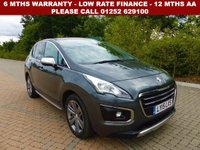 USED 2015 15 PEUGEOT 3008 1.6 BLUE HDI S/S ALLURE 5d AUTO 120 BHP All retail cars sold are fully prepared and include - Oil & filter service, 6 months warranty, minimum 6 months Mot, 12 months AA breakdown cover, HPI vehicle check assuring you that your new vehicle will have no registered accident claims reported, or any outstanding finance, Government VOSA Mot mileage check. Because we are an AA approved dealer, all our vehicles come with free AA breakdown cover and a free AA history check.. Low rate finance available. Up to 3 years warranty available.