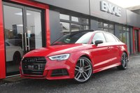 "USED 2016 66 AUDI S3 2.0 S3 QUATTRO 4d AUTO 306 BHP S/S BUCKET SEATS*PAN ROOF*PRIVACY GLASS*DIAMOND STITCHING*REAR SPOILER*AUTOMATIC LIGHTS*ELECTRIC HEATED MIRRORS*19""ALLOYS*FLAT BOTTOM STEERING*CRUISE CONTROL*SAT NAV*PHONE PREP*DAB RADIO*HEATED SEATS"