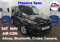 2015 FORD TRANSIT CONNECT 1.6 TDCi TREND 115 BHP 6 Speed in Black with Massive Spec including Sat Nav, Air Con, Alloys, 3 Seats, Reversing Camera, Bluetooth, Cruise Control, Parking Sensors and much more... £8680.00