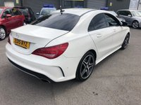 USED 2015 15 MERCEDES-BENZ CLA 1.6 CLA180 AMG SPORT 4d AUTO 122 BHP IN PEARL WHITE WITH FULL SERVICE HISTORY AND 2 OWNER S WITH 58000 MILES