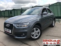 USED 2012 12 AUDI Q3 2.0 TDI SE 5d 138 BHP ALLOYS SENSORS CLIMATE PDC FSH  STUNNING GREY MET WITH GREY CLOTH TRIM. 17 INCH ALLOYS. COLOUR CODED TRIMS. PARKING SENSORS. BLUETOOTH PREP. CLIMATE CONTROL. TRIP COMPUTER. R/CD/MP3 PLAYER. 6 SPEED MANUAL. MFSW. MOT 06/20. SERVICE HISTORY. SUV4X4 USED SUV CENTRE LS23 7FR. TEL 01937 849492 OPTION 2