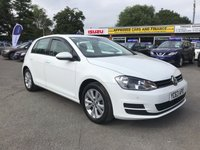 2013 VOLKSWAGEN GOLF 1.4 SE TSI BLUEMOTION TECHNOLOGY 5d 120 BHP IN PEARL WHITE WITH ONLY 1 OWNER AND 62000 MILES WITH FULL SERVICE HISTORY £8299.00