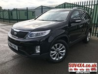 USED 2014 14 KIA SORENTO 2.2 CRDI KX-3 SAT NAV 5d AUTO 194 BHP 7 SEATS PAN ROOF SAT NAV ONE OWNER FSH FACELIFT 4WD. 7 SEATER. PANORAMIC SUNROOF. SATELLITE NAVIGATION. STUNNING BLACK MET WITH FULL BLACK LEATHER TRIM. ELECTRIC HEATED AND COOLING LEATHER SEATS. CRUISE CONTROL. HEATED STEERING WHEEL. 18 INCH ALLOYS. COLOUR CODED TRIMS. PRIVACY GLASS. PARKING SENSORS. REVERSE CAMERA. BLUETOOTH PREP. CLIMATE CONTROL INCLUDING AIR CON. TRIP COMPUTER. R/CD PLAYER. AUTO GEARBOX. MFSW. ROOF BARS. MOT 01/20. ONE OWNER. FULL SERVICE HISTORY. SUV & 4X4 CAR CENTRE LS23 7FR. TEL 01937 849492 OPTION 2