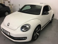 USED 2012 12 VOLKSWAGEN BEETLE 1.4 SPORT TSI 3d 158 BHP High Spec Low Mileage Beetle 1.4 TSI 160BHP Sport Fabulous Colour Combination Of Pure White With Black Leather, Gloss Black 18 Inch Alloys Privacy Glass And Gloss Black Mirror Caps, Side Mouldings And Spoilers, Huge Spec With Sat Nav, DAB, Bluetooth, Park Sensors, Bi Xenons, Heated Seats And Fender Sound System Upgrade, Just 47,850 Miles With History, Lovely