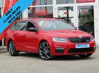 """USED 2016 66 SKODA OCTAVIA 2.0 VRS TDI 5d 181 BHP STUNNING, 1 OWNER, £30 ROAD TAX, SKODA OCTAVIA 2.0 TDI VRS 181 BHP. With BLACK PACK. Finished in CORRIDA RED with contrasting BLACK SPORTS HEATED LEATHER EMBOSSED SEATS. This is one the most spacious and best value cars in its class. Economical £30 Road Tax and 62.8 average MPG with 181 BHP giving it that extra punch. Features include Black Pack, Sat Nav, DAB, LED run lights, B/Tooth, 19"""" Alloys, Cruise, Lane departure, Heated Leather and much more. Skoda Dealer Durham serviced at 13622 miles."""