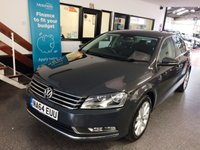 USED 2014 64 VOLKSWAGEN PASSAT 2.0 EXECUTIVE TDI BLUEMOTION TECHNOLOGY 4d 175 BHP 177 BHP! & Only £30 road tax! This 2.0 Tdi 6 Speed manual Executive Model is finished in Urano Grey Pearl with black heated leather seats. It has had the relevant 23R7 recall carried out (emissions). This diesel Passat is fitted with VW Sat Nav/D.A.B./Phone, front and rear park assist, cruise control multi function computer, fogs, remote locking, electric windows and mirrors,  alloy wheels, FM  radio, CD Stereo, aux port and more. It has had 1 company owner and comes with a documented history.