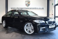 """USED 2015 15 BMW 5 SERIES 2.0 528I M SPORT 4d AUTO 242 BHP * NO ADMIN FEES * FINISHED IN STUNNING BLACK WITH FULL LEATHER INTERIOR + FULL BMW SERVICE HISTORY + PRO SATELITE NAVIGATION + PANORAMIC SUNROOF + BLUETOOTH + REAR VIEW CAMERA + HARMAN KARDON SPEAKERS + DAB RADIO + HEATED SPORTS SEATS + LED FOG LIGHTS + AUTO AIR CONDITIONING + 19"""" ALLOY WHEELS"""