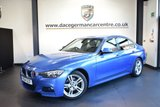 "USED 2015 64 BMW 3 SERIES 2.0 320D M SPORT 4DR 181 BHP * NO ADMIN FEES * FINISHED IN STUNNING ESTORIL METALLIC BLUE WITH FULL BLACK LEATHER INTERIOR + SATELLITE NAVIGATION + BLUETOOTH + HEATED SEATS + DAB RADIO + CRUISE CONTROL + AUTO AIR CON + RAIN SENSORS + LIGHT PACKAGE + PARKING SENSORS + 18"" ALLOY WHEELS"