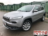 USED 2015 65 JEEP CHEROKEE 2.2 M-JET II LIMITED 5d AUTO 197 BHP SAT NAV LEATHER ONE OWNER FSH SATELLITE NAVIGATION. STUNNING GREY MET WITH BLACK LEATHER TRIM. ELECTRIC MEMORY HEATED AND COOLING SEATS. CRUISE CONTROL. ELECTRIC TAILGATE. 18 INCH ALLOYS. COLOUR CODED TRIMS. PRIVACY GLASS. PARKING SENSORS. REAR VIEW CAMERA. BLUETOOTH PREP. CLIMATE CONTROL. DIGITAL DAB RADIO. MFSW. ROOF BARS. AUTO GEARBOX. MOT 07/20. ONE OWNER. FULL SERVICE HISTORY. SUV & 4X4 CAR CENTRE LS23 7FR. TEL 01937 849492. OPTION 2