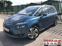 USED 2015 15 CITROEN C4 GRAND PICASSO 2.0 BLUEHDI EXCLUSIVE PLUS 5d 148 BHP SAT NAV LEATHER SATELLITE NAVIGATION. PANORAMIC SUNROOF. 7 SEATS. STUNNING BLUE MET WITH BLACK CLOTH TRIM. CRUISE CONTROL. 18 INCH ALLOYS. COLOUR CODED TRIMS. PRIVACY GLASS. PARKING SENSORS. REVERSE CAMERA. AUTO CLIMATE CONTROL. AIR CON. BLUETOOTH PREP. MEDIA CONNECTIVITY. R/CD PLAYER. MFSW. MOT 03/20. SERVICE HISTORY. SUV4X4 USED SUV CENTRE LS23 7FR. TEL 01937 849492. OPTION 2