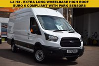 USED 2018 18 FORD TRANSIT 2.0 350 L4 H3 P/V DRW 1d 129 BHP July 2018 EURO 6 COMPLIANT (No London ULEZ charges) L4 H3 EXTRA LONG WHEELBASE HIGH ROOF Ford Transit 350 2.0tdci 130 RWD with FRONT AND REAR PARK SENSORS.