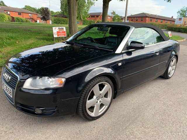 "USED 2007 AUDI A4 2.0 TDi S Line 2dr DIESEL CONVERTIBLE STUNNING WELL MAINTAINED EXAMPLE, WITH 18"" ALLOY WHEELS, RADIO/CD, CLIMATE CONTROL, ELECTRIC ADJUSTING SEATS, ELECTRIC MIRRORS+WINDOWS, HEATED SEATS,  AIR CON, PARKING SENSORS"