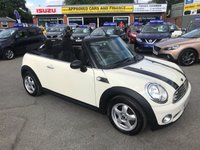 USED 2010 10 MINI CONVERTIBLE 1.6 ONE 2d 98 BHP IN CREAM WITH 79000 MILES, FULL SERVICE HISTORY AND 2 OWNERS. APPROVED CARS AND FINANCE ARE PLEASED TO OFFER THIS MINI COUNTRYMAN 1.6 ONE 5 DOOR 98 BHP IN METALLIC CREAM WITH BLACK RACING STRIPES AND BLACK ALLOY WHEELS AND A FULL SERVICE HISTORY AT 16K, 32K, 60K, 66K, 71K, 75K, 78K,  THIS VEHICLE HAS GOT A GREAT SPEC SUCH AS SILVER ALLOY WHEELS, CENTRAL LOCKING, DAB RADIO AIR CONDITIONING AND MUCH MORE. THIS VEHICLE IS A PERFECT FAMILY CAR DUE THE SPACIOUS SIZE OF THE VEHICLE AND DUE TO THE LOW ENGINE SIZE THIS VEHICLE IS EXTREMELY ECONOMICAL AND CHEAP TO