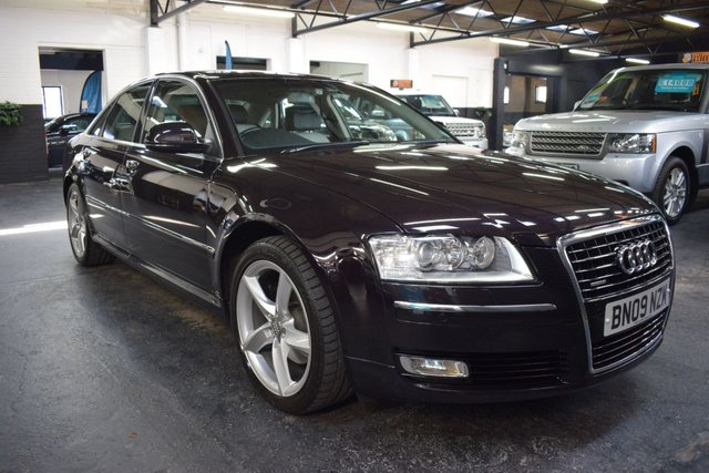 USED 2009 09 AUDI A8 3.0 TDI QUATTRO SPORT 4d AUTO 229 BHP STUNNING CAR IN CHERRY BLACK PEARL - TWO TONE LEATHER - 19 INCH ALLOYS - 9 STAMPS TO 83K - 4 NEW TYRES