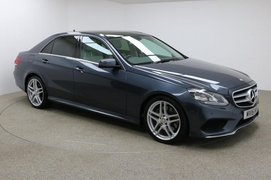 """USED 2015 15 MERCEDES-BENZ E CLASS 3.0 E350 BLUETEC AMG LINE PREMIUM 4DR AUTO 255 BHP FINISHED IN STUNNING TENORITE METALLIC GREY + COMAND SATELLITE NAVIGATION + BLUETOOTH + PANORAMIC SUNROOF + REAR-VIEW CAMERA + DAB RADIO + HEATED SEATS + DIRECT START / ECO START/STOP FUNCTION + ELECTRIC FOLDING MIRRORS + DIRECT START / ECO START/STOP FUNCTION + ACTIVE PARK ASSIST + AMG 19"""" SPOKED ALLOY WHEELS"""