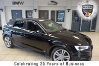 USED 2015 15 AUDI A3 2.0 TDI S LINE 5d 148 BHP FINISHED IN STUNNING MYTHOS BLACK WITH FULL CLOTH BLACK SEATS + SATELLITE NAVIGATION + LED DAYTIME RUNNING LIGHTS + PARKING SENSORS + DAB RADIO + AUDI MUSIC INTERFACE + CLIMATE CONTROL + BLUETOOTH + AIR CONDITIONING + 18 INCH ALLOY WHEELS