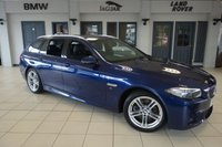 USED 2015 65 BMW 5 SERIES 2.0 520D M SPORT TOURING 5DR AUTO 188 BHP excellent service history * NO ADMIN FEES * FINISHED IN STUNNING MEDITERRANEAN METALLIC BLUE WITH FULL LEATHER INTERIOR + EXCELLENT SERVICE HISTORY + SATELLITE NAVIGATION + BLUETOOTH +DAB RADIO + HEATED HEATS + CRUISE CONTROL + LED FOGLIGHTS + PARKING SENSORS + AIR CONDITIONING + ALLOY WHEELS