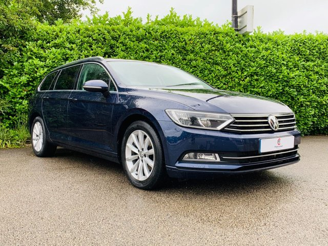 """USED 2016 16 VOLKSWAGEN PASSAT 2.0 SE BUSINESS TDI BLUEMOTION TECHNOLOGY 5d 148 BHP One Owner From New, Full Main Dealer Service History, £20 Per Year Road Tax, Sat Nav, Bluetooth, Front + Rear Parking Sensors, Privacy + Tinted Glass, 17"""" Alloy Wheels, Front + Rear Fog Lights, Excellent Fuel Economy, Finished In Blue Metallic Paintwork, Auto Lights, Spare Key, Drive Away In Under 1 Hour"""