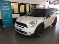"""USED 2013 63 MINI COOPER 2.0 COOPER SD ALL4 3d 143 BHP This All wheel drive Mini Paceman Cooper SD is finished in Bright white with black heated leather trim and full length electric opening panoramic roof, its had two private owners. It is fitted with power steering, Mini Navigation, climatic Air conditioning, Bluetooth, cruise control, remote locking, electric windows & mirrors, 17"""" two tone alloy wheels, rear park assist, USB/CD Stereo and more. It comes with a full service history from Mini, (4 times), the current Mot runs till November 2019."""