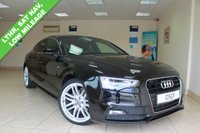 USED 2015 15 AUDI A5 1.8 SPORTBACK TFSI S LINE 5d AUTO 175 BHP BLACK LEATHER, SATELLITE NAVIGATION, REAR PRIVACY GLASS, 19 INCH ALLOYS, FRONT AND REAR PARKING SENSORS, HEATED FRONT SEATS, RAIN SENSOR, BLUETOOTH, ELECTRIC FOLDING MIRRORS, LUMBAR SUPPORT, LOW MILEAGE