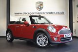 """USED 2013 13 MINI CONVERTIBLE 1.6 COOPER 2DR AUTO 122 BHP CHILI PACK full mini service history  * NO ADMIN FEES * FINISHED IN STUNNING CHILI RED WITH CLOTH UPHOLSTERY + FULL MINI SERVICE HISTORY + BLUETOOTH + DAB RADIO + LIGHT PACKAGE + RAIN SENSORS + AUTO AIR CON + SPORT SEATS + FOG LIGHTS + PARKING SENSORS + 16"""" ALLOY WHEELS"""