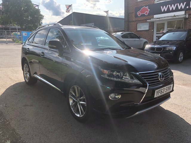 """USED 2013 63 LEXUS RX 450H 3.5 Premier 5dr CVT Auto ELECTRIC 4 X 4 RX450 3.5L V6 PETROL HYBRID, FULL CVT AUTOMATIC GEARBOX. FINISHED IN A BEAUTIFUL PANTHER BLACK WITH  BLACK LEATHER TRIM. GREAT SPECIFICATION WITH REVERSE CAMERA, SATELLITE NAVIGATION, FULL 4X4 SYSTEM, DUAL ZONE CLIMATE CONTROL, 19"""" ALLOY WHEELS, CRUISE CONTROL AND SMART ENTRY WITH 2X REMOTE KEYS AND A LEXUS SMART CARD . FULL LEXUS SERVICE HISTORY, FULL 12 MONTHS MOT  AND A SERVICE UPON SALE . WE WILL ALSO INCLUDE A 12 MONTHS PARTS AND LABOUR WARRANTY."""