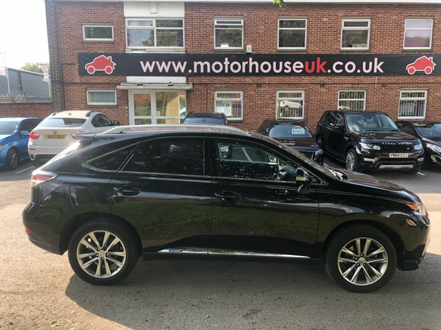 "USED 2013 63 LEXUS RX 450H 3.5 Premier 5dr CVT Auto ELECTRIC 4 X 4 RX450 3.5L V6 PETROL HYBRID, FULL CVT AUTOMATIC GEARBOX. FINISHED IN A BEAUTIFUL PANTHER BLACK WITH  BLACK LEATHER TRIM. GREAT SPECIFICATION WITH REVERSE CAMERA, SATELLITE NAVIGATION, FULL 4X4 SYSTEM, DUAL ZONE CLIMATE CONTROL, 19"" ALLOY WHEELS, CRUISE CONTROL AND SMART ENTRY WITH 2X REMOTE KEYS AND A LEXUS SMART CARD . FULL LEXUS SERVICE HISTORY, FULL 12 MONTHS MOT  AND A SERVICE UPON SALE . WE WILL ALSO INCLUDE A 12 MONTHS PARTS AND LABOUR WARRANTY."