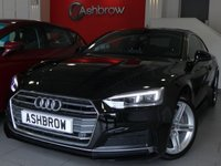 USED 2017 66 AUDI A5 2.0 TDI S LINE 2d AUTO 190 S/S UPGRADE PRIVACY GLASS, UPGRADE ELECTRIC HEATED FOLDING DOOR MIRRORS, SAT NAV, AUDI SMARTPHONE FOR APPLE CAR PLAY / ANDROID AUTO, BLUETOOTH PHONE/MUSIC, DAB RADIO, 18 INCH TWIN 5 SPOKE ALLOYS, FRONT & REAR PARKING SENSORS, LED DAYTIME RUNNING LIGHTS, BLACK LEATHER ALCANTARA UPHOLSTERY, LEATHER MULTIFUNCTION TIPTRONIC STEERING WHEEL, LIGHT & RAIN SENSORS, CRUISE CONTROL WITH SPEED LIMITER, HEATED FRONT SEATS, ELECTRIC FRONT SEATS, FULL SERVICE HISTORY, BALANCE OF AUDI WARRANTY, £30 ROAD TAX, VAT Q