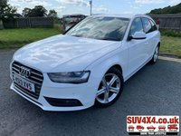 USED 2013 13 AUDI A4 2.0 AVANT TDI SE TECHNIK 5d 134 BHP SAT NAV LEATHER  SATELLITE NAVIGATION. STUNNING WHITE WITH BLACK LEATHER TRIM. CRUISE CONTROL. 17 INCH ALLOYS. COLOUR CODED TRIMS. PRIVACY GLASS. PARKING SENSORS. BLUETOOTH PREP. CLIMATE CONTROL WITH AIR CON. TRIP COMPUTER. R/CD PLAYER. 6 SPEED MANUAL. MFSW. MOT 03/20. SERVICE HISTORY. PRESTIGE SUV CENTRE - LS24 8EJ. TEL 01937 849492 OPTION 1